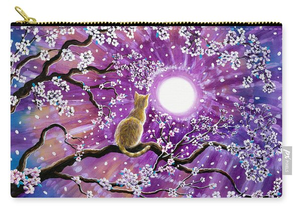 Champagne Tabby Cat In Cherry Blossoms Carry-all Pouch
