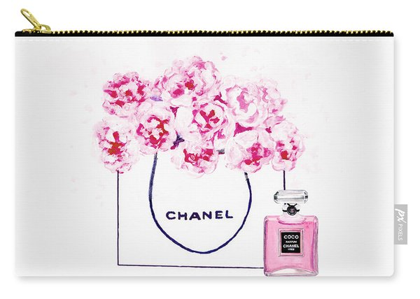 Chanel Bag With Pink Peonys Carry-all Pouch