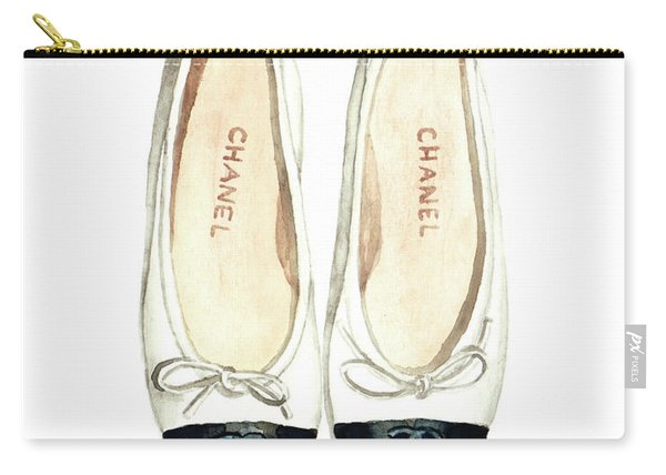 Chanel Ballet Flats Classic Watercolor Fashion Illustration Coco Quotes Vintage Paris Black White Carry-all Pouch