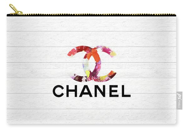 Chanel Floral On Wood Carry-all Pouch
