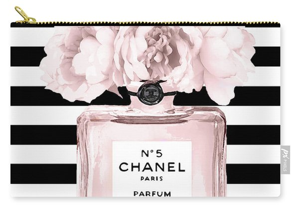 Chanel N.5, Black And White Stripes Carry-all Pouch