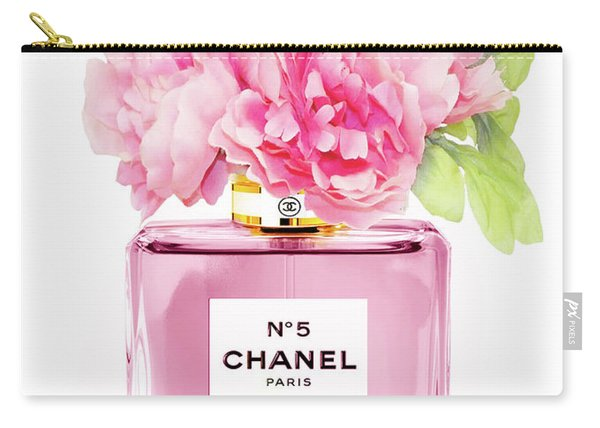 Chanel N5 Pink With Flowers Carry-all Pouch
