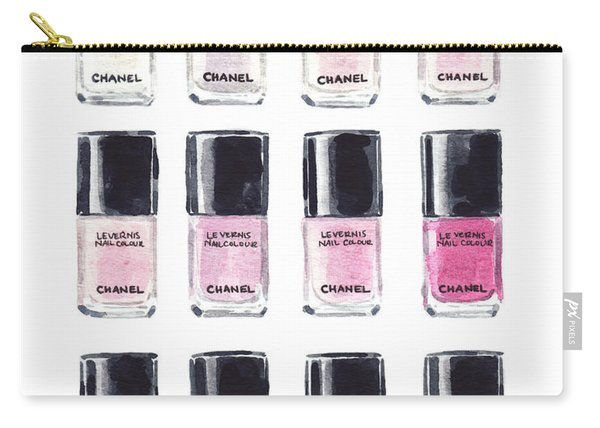 Chanel Nail Polish Pink Red Art Print Watercolor Fashion Illustration Coco Chanel Le Vernis Vintage Carry-all Pouch