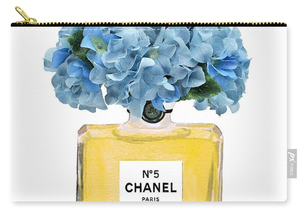 Chanel Perfume Nr 5 With Blue Hydragenias  Carry-all Pouch