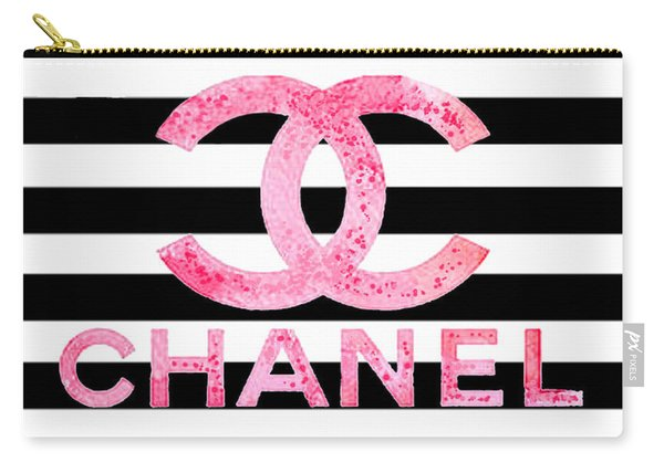 Chanel Pink Logo On Stripes Carry-all Pouch