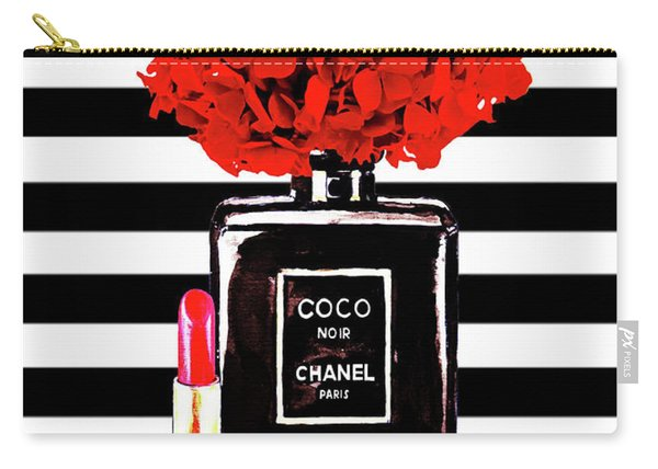 Chanel Poster Chanel Print Chanel Perfume Print Chanel With Red Hydragenia 3 Carry-all Pouch