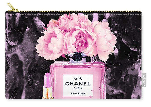 Chanel Print Chanel Poster Chanel Peony Flower Black Watercolor Carry-all Pouch