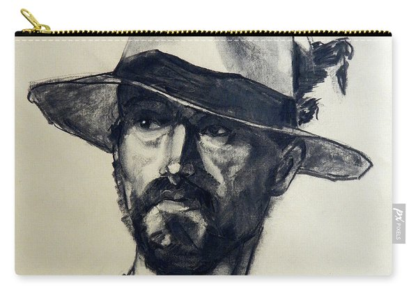 Charcoal Portrait Of A Man Wearing A Summer Hat Carry-all Pouch