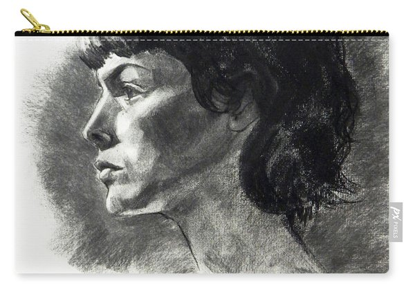 Charcoal Portrait Of A Pensive Young Woman In Profile Carry-all Pouch