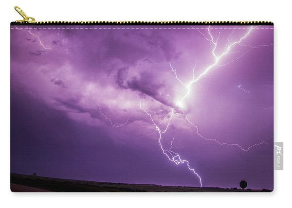 Carry-all Pouch featuring the photograph Chasing Nebraska Lightning 018 by NebraskaSC