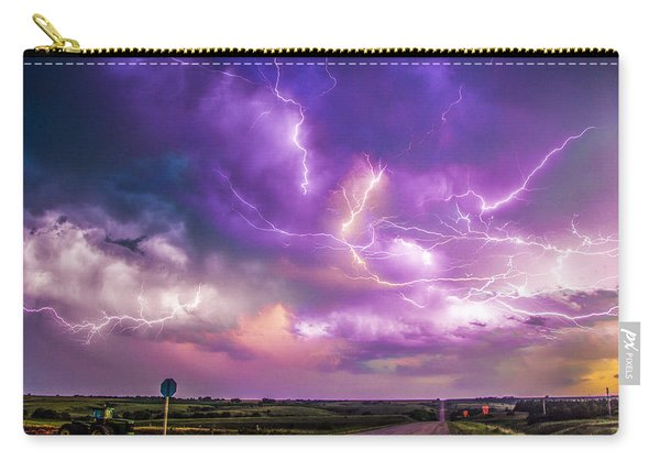 Carry-all Pouch featuring the photograph Chasing Nebraska Lightning 056 by NebraskaSC