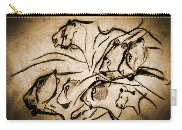 Chauvet Cave Lions Burned Leather Carry-all Pouch