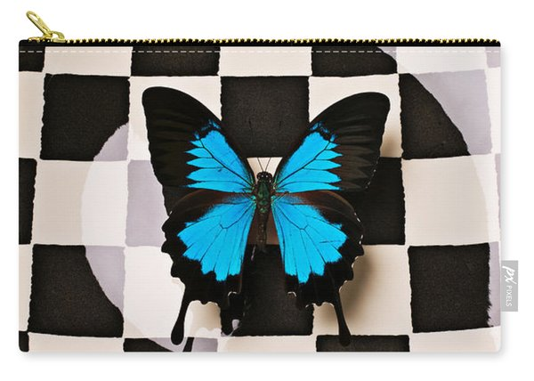 Checker Plate And Blue Butterfly Carry-all Pouch