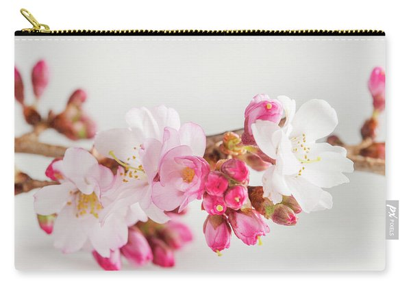 Cherry Blossom On White Carry-all Pouch