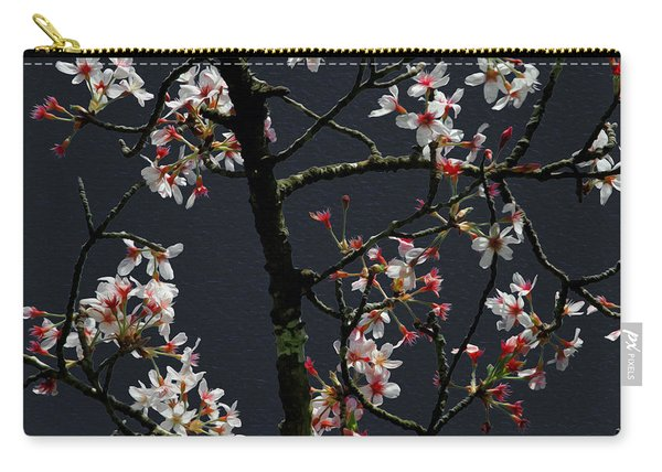 Cherry Blossoms On Dark Bkgrd Carry-all Pouch