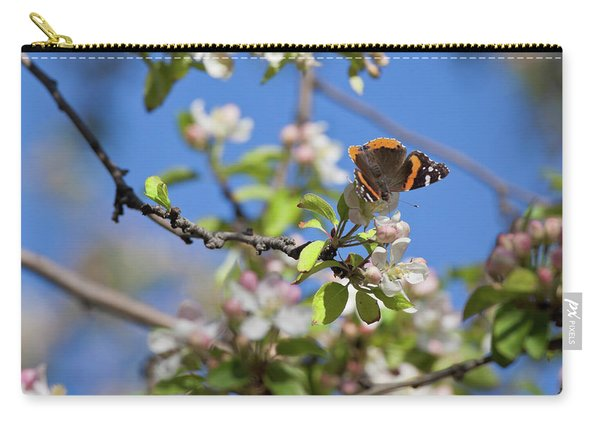 Monarch Butterfly On Cherry Tree Carry-all Pouch