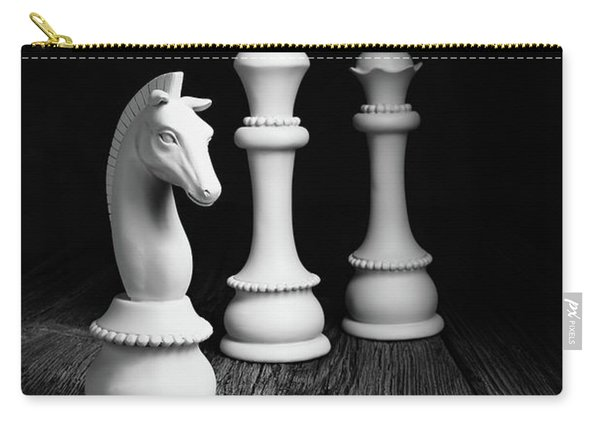 Chess Pieces On Old Wood Carry-all Pouch