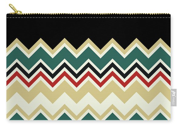 Chevron Beige Forest Green Red Black Zigzag Pattern Carry-all Pouch