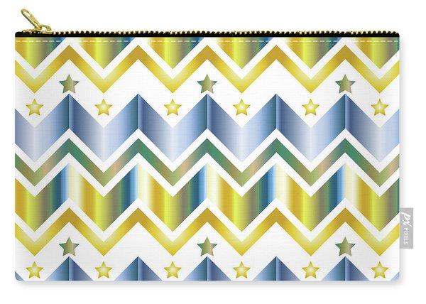 Chevron Metallic Gold Blue Green Gradation Stars Pattern Carry-all Pouch