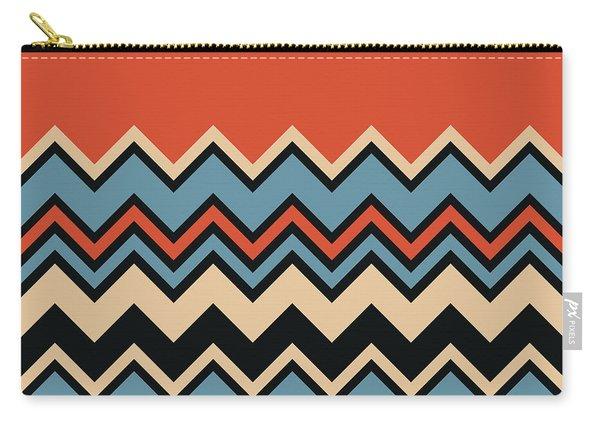 Chevron Orange Blue Beige Black Zigzag Pattern Carry-all Pouch