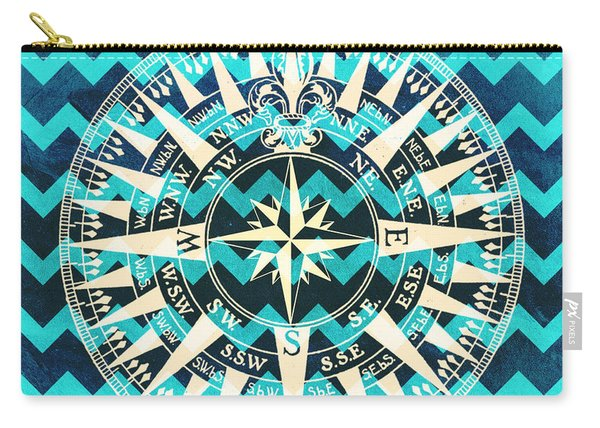 Chevron Print Compass Blue Carry-all Pouch