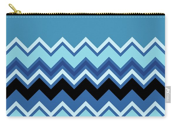 Chevron Summer Cobalt Sapphire Blue Black Zigzag Pattern Carry-all Pouch