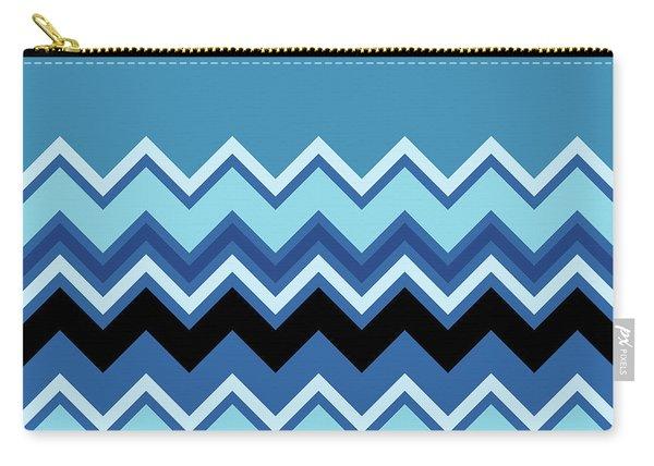Chevron Summer Cobalt Sapphire Blue Black Zigzag Pattern Carry-all Pouch