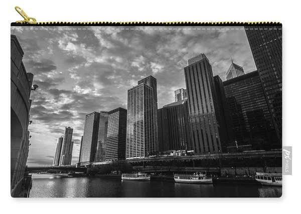 Chi Sunrise Black And White Carry-all Pouch