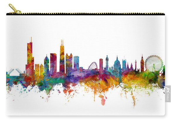 Chicago And London Skylines Mashup Carry-all Pouch