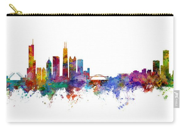 Chicago And Milwaukee Skyline Mashup Carry-all Pouch