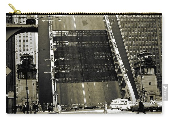 Old Chicago Draw Bridge - Vintage Photo Art Print Carry-all Pouch