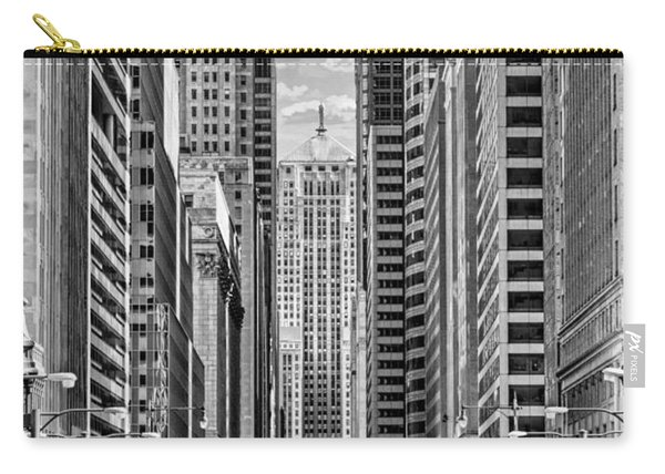 Chicago Lasalle Street Black And White Carry-all Pouch