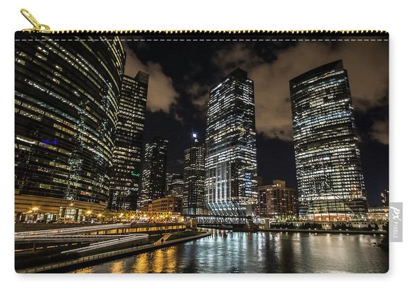 Chicago River And Night Skyline Carry-all Pouch