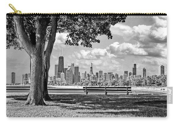 Chicago North Skyline Park Black And White Carry-all Pouch
