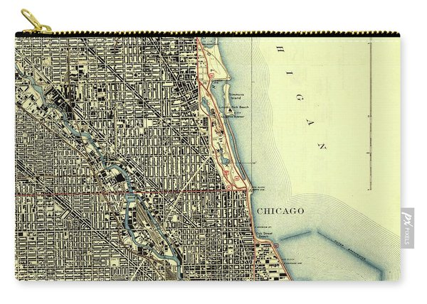 Chicago Old Map, Gift For Men Carry-all Pouch