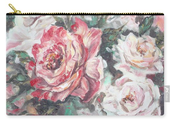 Carry-all Pouch featuring the painting Chicago Peace And Seduction Roses by Ryn Shell