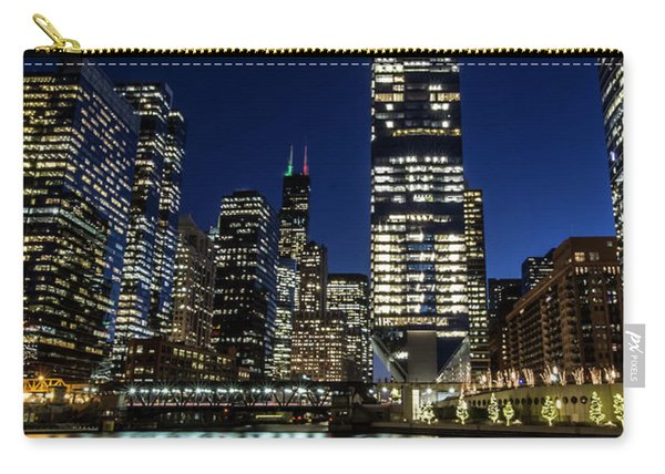 Chicago River And Skyline At Dusk  Carry-all Pouch