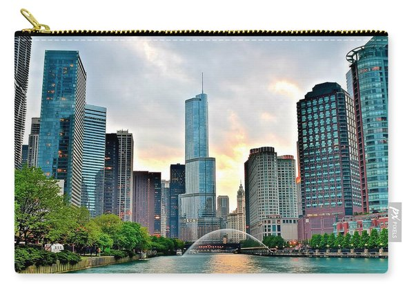 Chicago River View At Sunset Carry-all Pouch