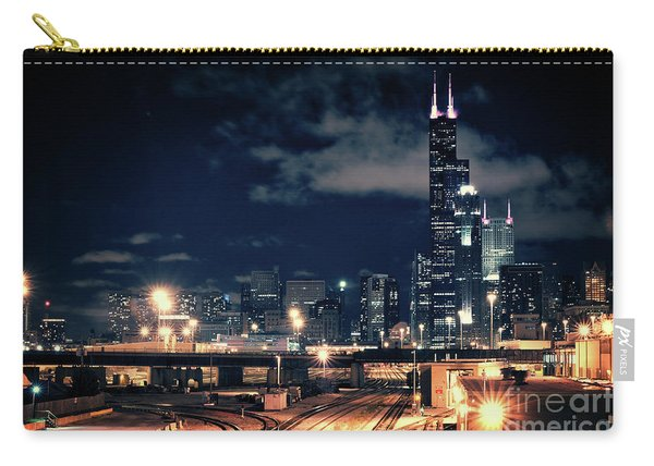 Chicago Skyline Cityscape At Night Carry-all Pouch