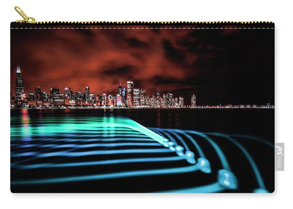 Chicago Skyline With Blue Pixel Stick Light Painting Carry-all Pouch