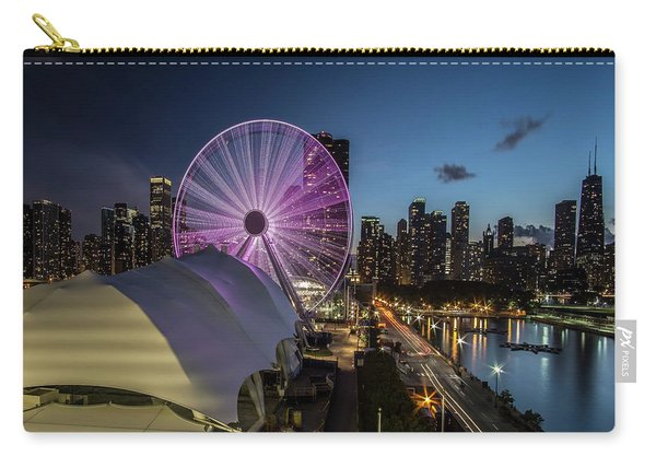 Chicago Skyline With New Ferris Wheel At Dusk Carry-all Pouch