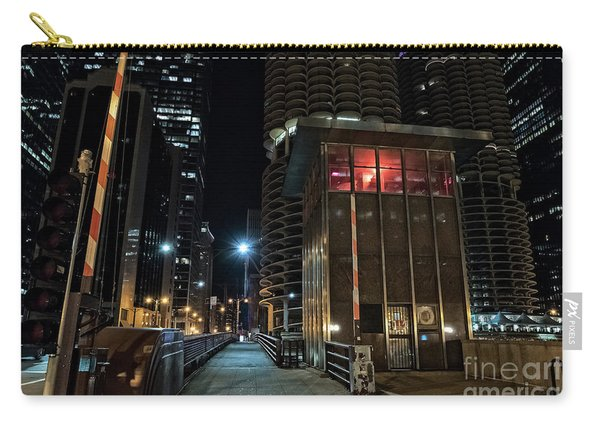 Chicago Urban Vintage River Drawbridge With Tender House At Night Carry-all Pouch