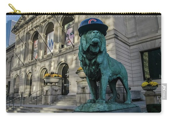 Chicago's Art Institute With Cubs Hat Carry-all Pouch