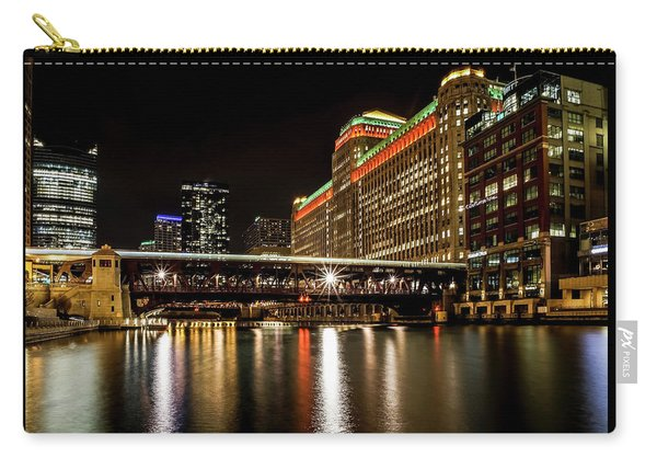 Chicago's Merchandise Mart At Night Carry-all Pouch