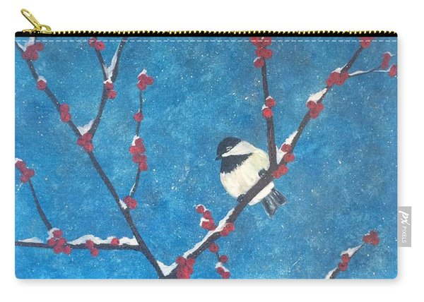 Carry-all Pouch featuring the painting Chickadee Bird by Denise Tomasura