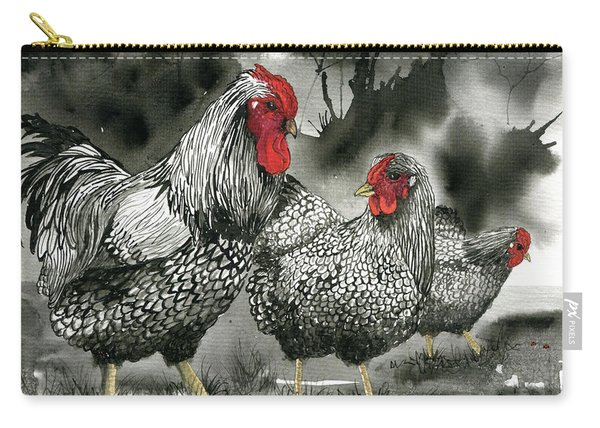 Chickens In Black And Whiite Carry-all Pouch