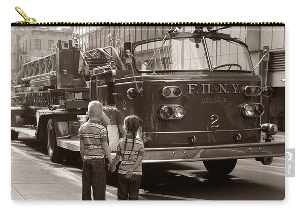 Children Looking At Fire Truck, C.1970s Carry-all Pouch