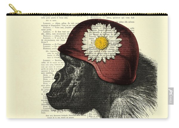 Chimpanzee With Helmet Daisy Flower Dictionary Art Carry-all Pouch