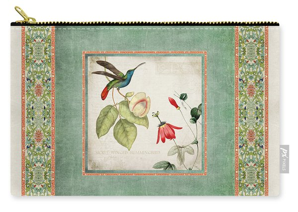 Chinoiserie Vintage Hummingbirds N Flowers 2 Carry-all Pouch