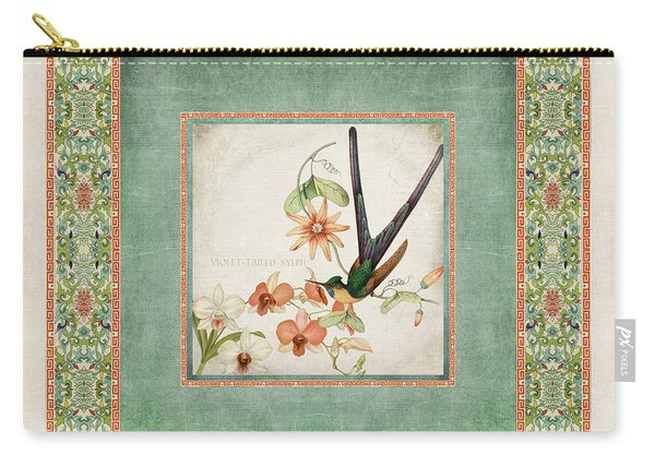 Chinoiserie Vintage Hummingbirds N Flowers 3 Carry-all Pouch